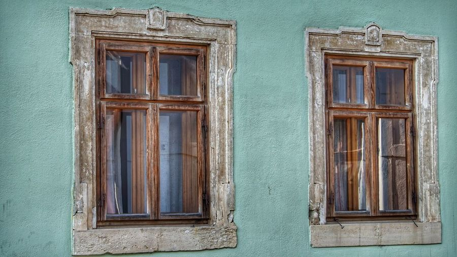 Closed window of old building