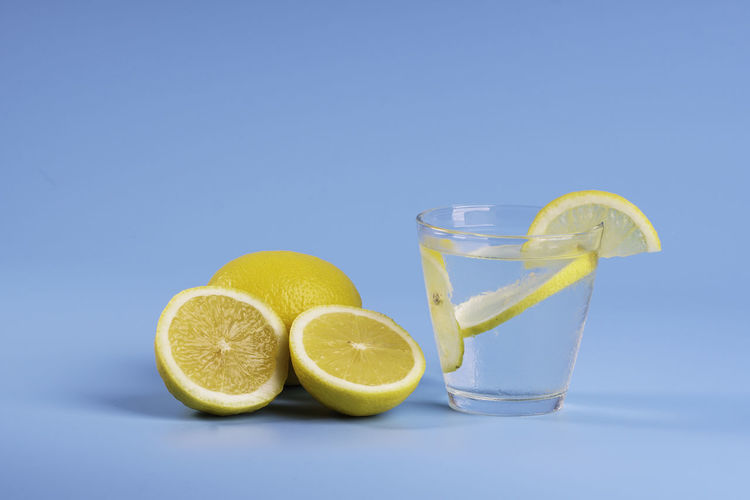 View of drink against blue background