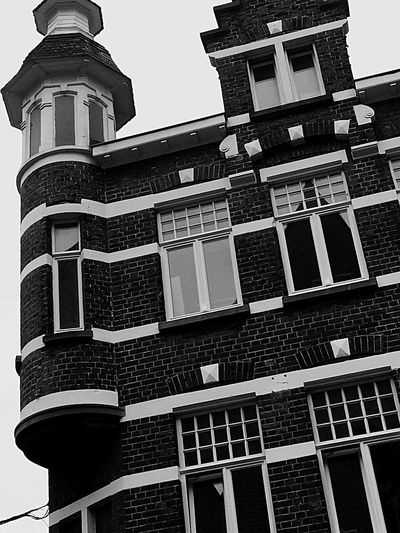 Tower Blackandwhite Architecture Old Buildings No People EyeEm Selects Old Town B&w Old But Awesome Brick Wall Brownstones Europe_gallery History Old-fashioned House Of The Witch History Through The Lens  Horror Black Windows