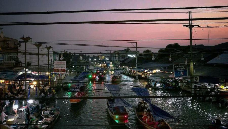 Market Floating Market Thailand Travel Traveling Amphawa Floating Market Amphawa  Amphawa At Dawn