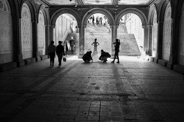 Wedding Photography B&w NYC Arch Walking Men Day Lifestyles