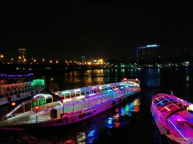 Night Illuminated Nautical Vessel Reflection City Water Architecture Outdoors Bridge - Man Made Structure Nightlife River Egypt Nile River NileRiver Photography Streetphotography Street