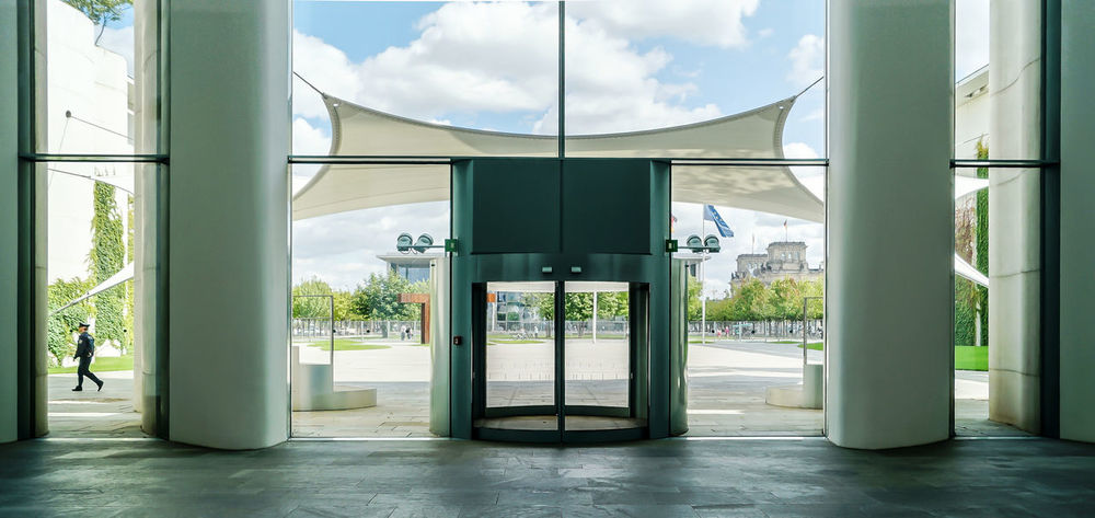 Architectural Column Architecture Built Structure Bundeskanzleramt Bundesregierung Chancellery Chancellor Day Eingang Entrance German Germany Government Government Building Green Color Indoors  Indoors  Inside Kanzleramt Modern No People Sky Tree