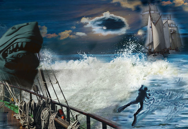 Collage Moon Sailing Ship Tall Ship Clouds Composite Diver Nautical Vessel Reling Sea Shark Ship Sky Water Wave