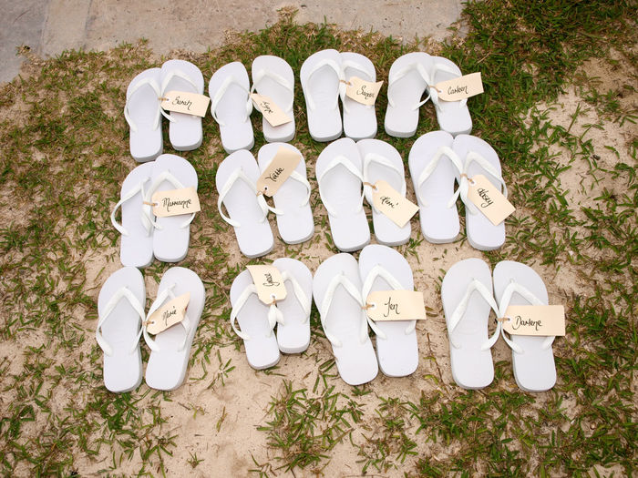 Guests Shoes Beach Wedding Port Vila Vanuatu. Arrangement Beach Wedding Port Vila Vanuatu Collection Culture Day Dirt Garden Group Of Objects Guests In A Row Large Group Of Objects Medium Group Of Objects Order Outdoors Sand Shoes ♥ Stone Variation