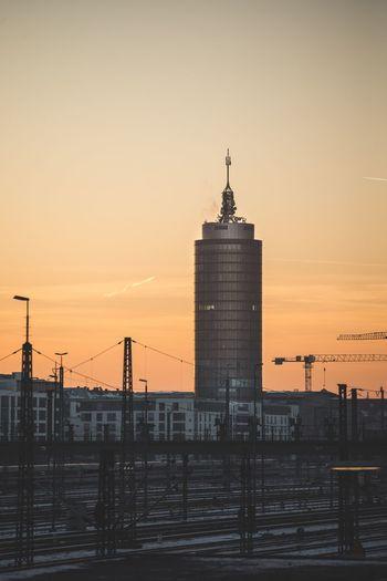 Munich Skyline Sunset Architecture Built Structure Sky Sundown