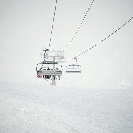 Winter Snow Cold Temperature White Color Ski Lift Fog Frozen Mountain Travel Minimalism Dombay Canon400d Day Winter White Mountains Foggy