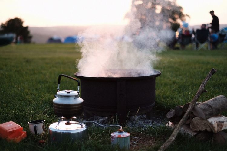 Close-Up Of Food Cooking Outdoors