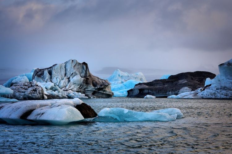 Iceland - icebergs Sea Beauty In Nature Nature Water Tranquil Scene Tranquility Idyllic Blue Sky Scenics Waterfront Cold Temperature Iceberg No People Day Outdoors Winter Ice Glacier