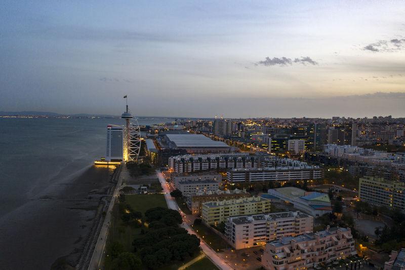 East lisbon. parque das nações park where expo 98 taked place. myriad sana hotel tower. drone view.