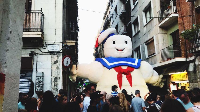 Festamajordegràcia Fiesta Gracia Barcelona Party Ghostbusters 80s Staypuft Marshmallows