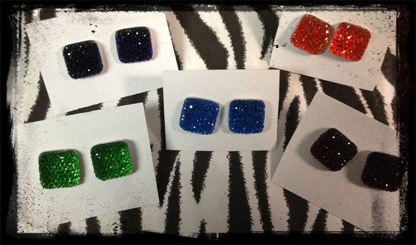 Sparkling Square Earrings