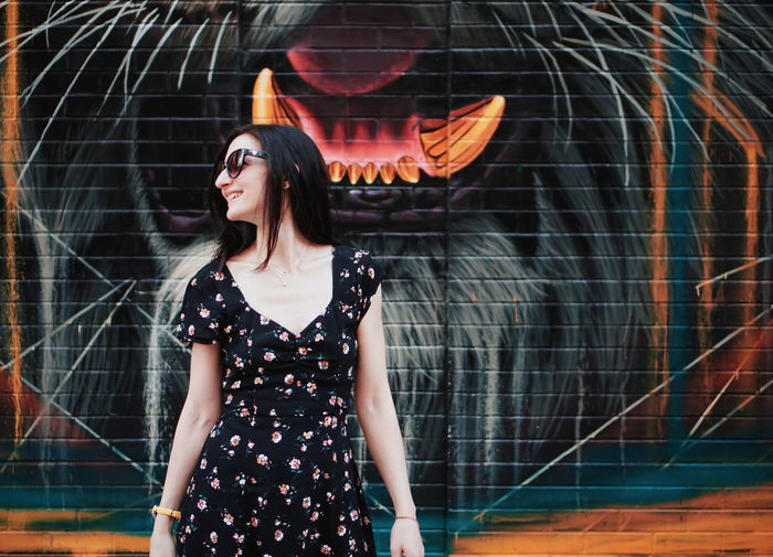 fangs Girl Beaitiful Moment Smile Happy Happiness Youth Culture Youth Of Today Young Adult Tiger Colorful NYC City Citylife Wall Wall Art Street Art Sleeveless  Portrait Sexygirl Sunglasses Summer Summertime Pale Beauty Beautiful Woman Young Women Red Lipstick Medium-length Hair Urban Scene Human Lips The Portraitist - 2019 EyeEm Awards My Best Photo