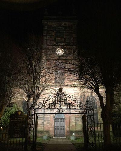 St Modwen's Church , Burton-upon-Trent. Religion Night Nightphotography Light Trees Shadow Spooky Clock Clock Tower Britain England Staffordshire First Eyeem Photo