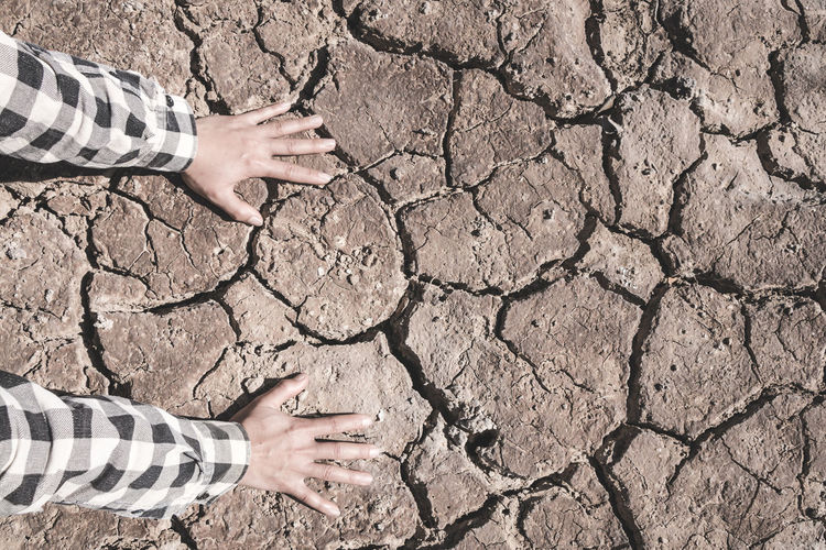 Nature Land Outdoors Human Hand Hand Drought Dirt Mud Dry Pattern Scenics - Nature Cracked Arid Climate Climate