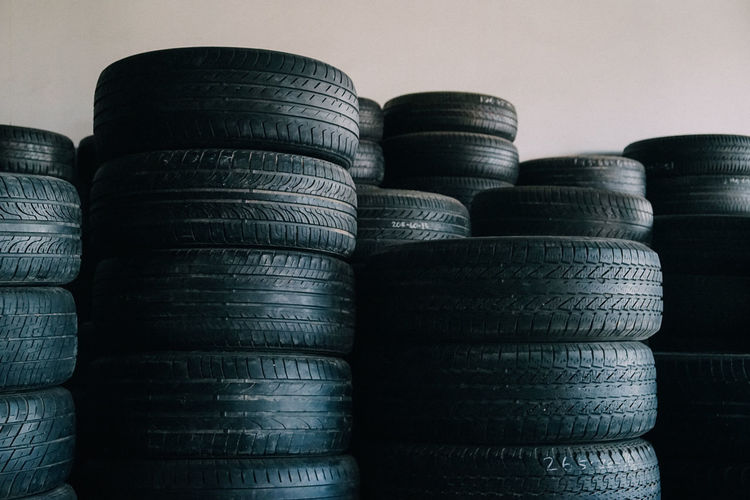 Close-up of stack of tires