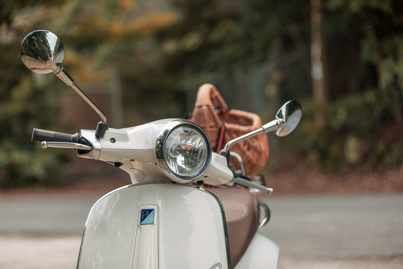 Close-up of motor scooter