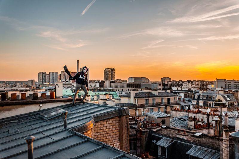 Ending folder Explorer Explore Exploring person Sunset Sunset_collection Paris, France  Light And Shadow Rooftop Roof Nikon Paris Nikonphotography Wide Angle