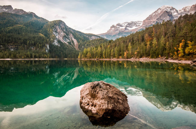 My goodmorning. Mountain Water Tranquil Scene Reflection Lake Scenics Tranquility Tree Beauty In Nature Majestic Travel Destinations Non-urban Scene Calm Waterfront Nature Lake Tovel Trentino  Trentino Alto Adige