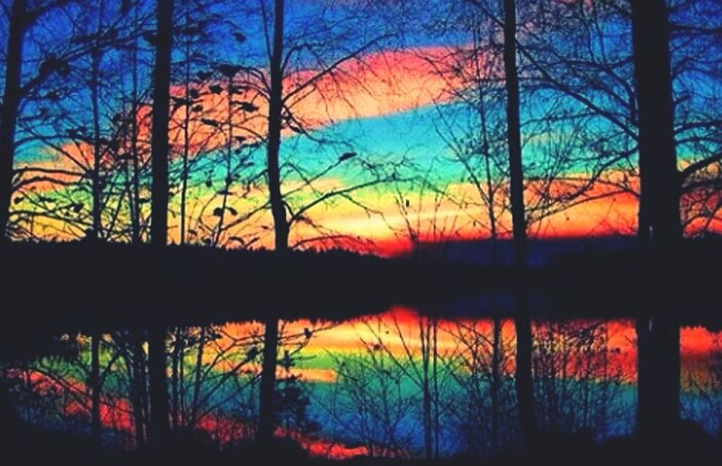 rainbow skies Pollution Lake Sunset
