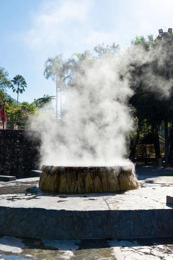 Famous hot spring well in raksa warin public park, ranong, thailand.