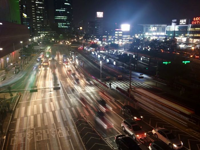 City Traffic Night Illuminated Cityscape City Life Light Trail Seoul
