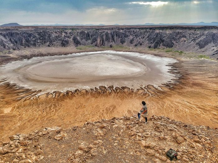 I feel like a person living on the brink of a volcano crater. Volcanic Landscape Volcano Land Nature Cloud - Sky Men One Person Outdoors Beauty In Nature Real People First Eyeem Photo