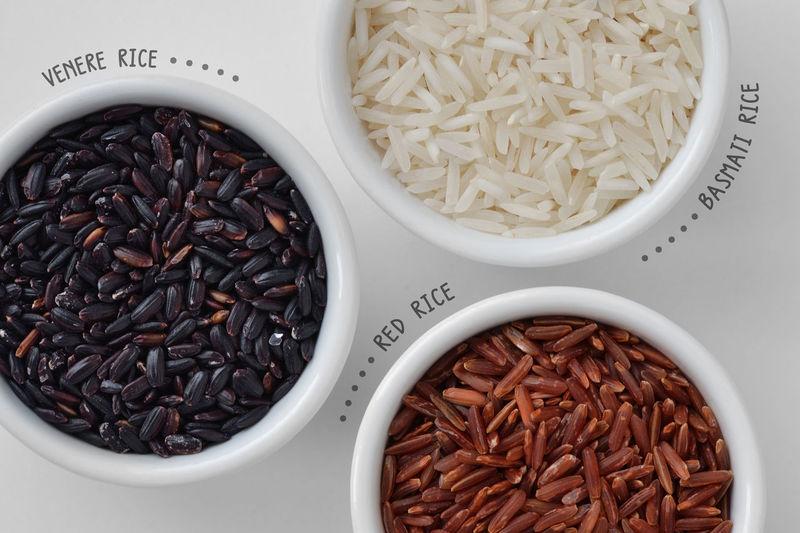Venere rice, red rice and basmati rice Cereal Gluten Free Natural Raw Red Rice Vegetarian Antioxidant Basmati Black Bowl Cholesterol Diabetes Fiber Food Grain Health Healthy Nutrition Organic Protein Variety Vegan Venere White