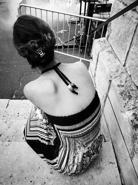 One Person Arts Culture And Entertainment One Woman Only Music Festival Moments Waiting For The Show Black And White Photography My Queen