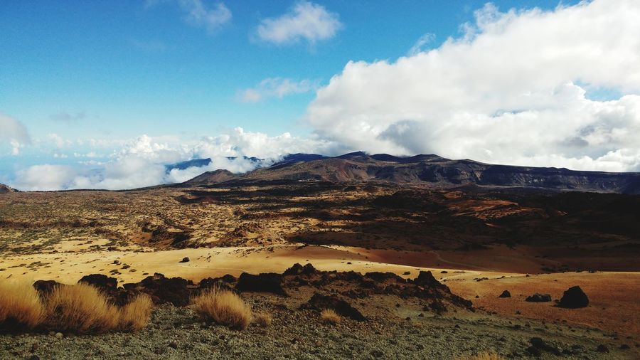 Tenerife SPAIN Teide Volcano Caldera Sky Clouds Dust Mountain Sand Dune Sky Landscape Cloud - Sky Volcanic Landscape Rugged Arid Landscape Arid Climate Volcanic Crater Physical Geography Geology