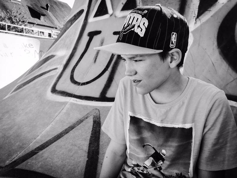 Skate Skateboarding Hobby Blackandwhite That's Me Hanging Out