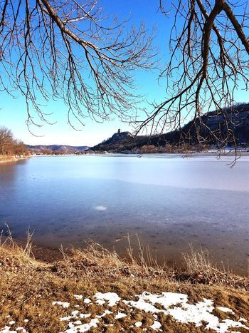 Sugar Loaf Water Blue Sky Reflection Nature Lake Tree Outdoors Clear Sky Day No People Beauty In Nature Refraction Horizon Over Water Freshness Winona, MN. Fine Art Photography