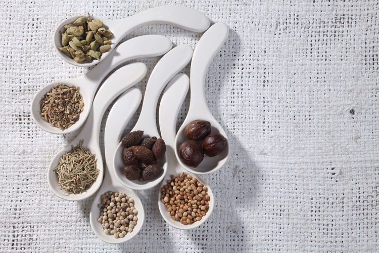 white spoon with curve fill up with spices Spice Variation Choice Ingredient Food Food And Drink Turmeric  Spoon No People Seasoning Ground - Culinary Freshness In A Row Still Life Indian Food Herb Group Of Objects Assortment Healthy Eating Malva Nutmeg Seed Cumin Cardamom Rosemary