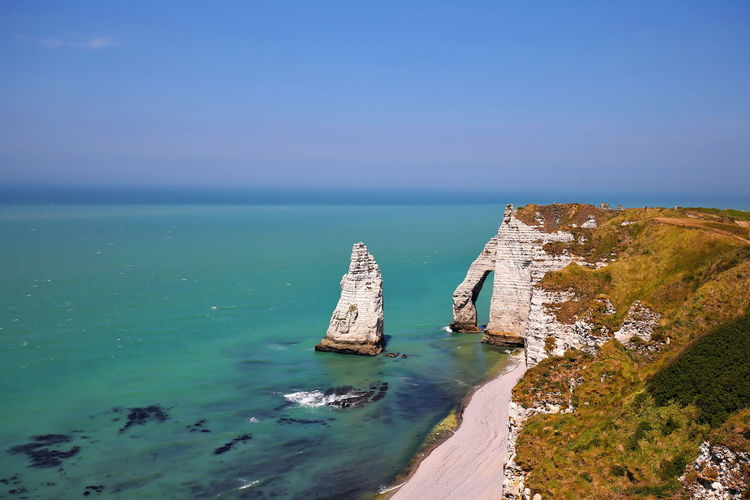 Etretat on the coast of france with wonderful landscapes