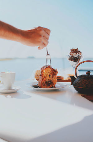 Close-up Coffee - Drink Day Dessert Drink Food Food And Drink Fork Freshness Holding Human Body Part Human Hand Indoors  Indulgence One Person People Plate Ready-to-eat Real People Refreshment Serving Size Sweet Food Table Temptation Women