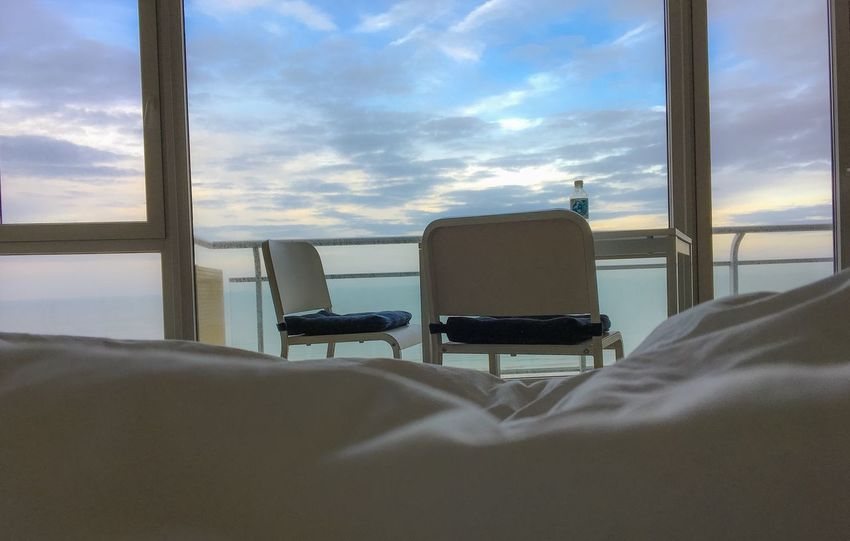 Good morning Window Indoors  Sky Cloud - Sky Relaxation Home Interior Sea Bedroom Day No People Nature Loft Ostend Belgium Ostend #belgium Ocean View Tourism Room With A View Calming Sea Holiday Cloudscape Out Of The Window