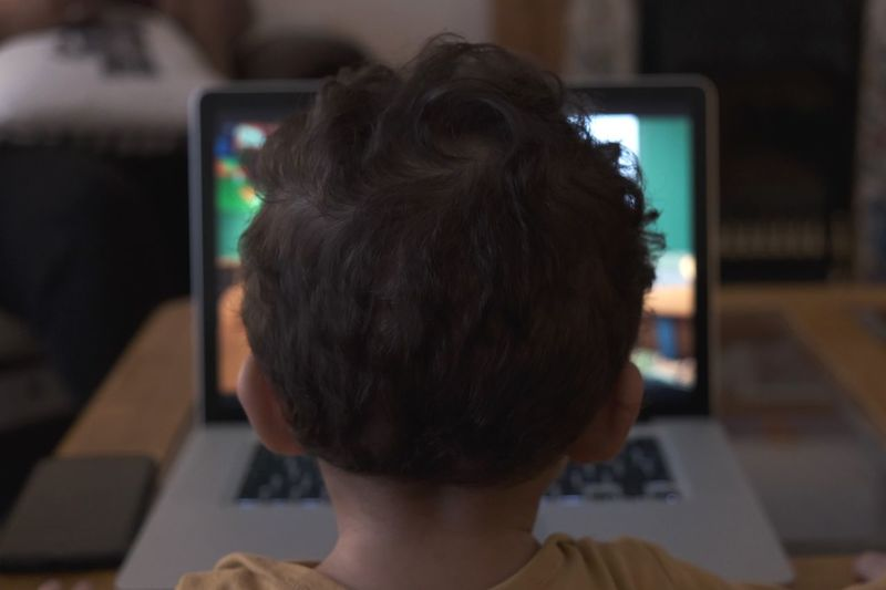 Close-up rear view of baby boy using laptop