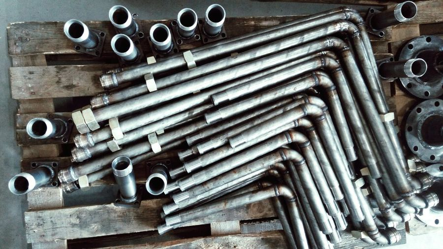 High angle view of pipes in industry