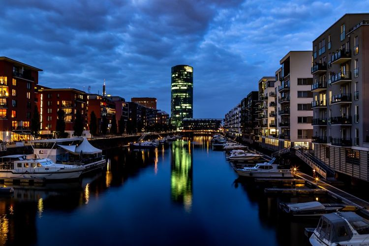 Westhafen Frankfurt Westhafen Building Exterior Built Structure Architecture Water Building City Illuminated Sky Reflection Cloud - Sky Nature Dusk Waterfront Night Cityscape No People Residential District River Travel Destinations Outdoors