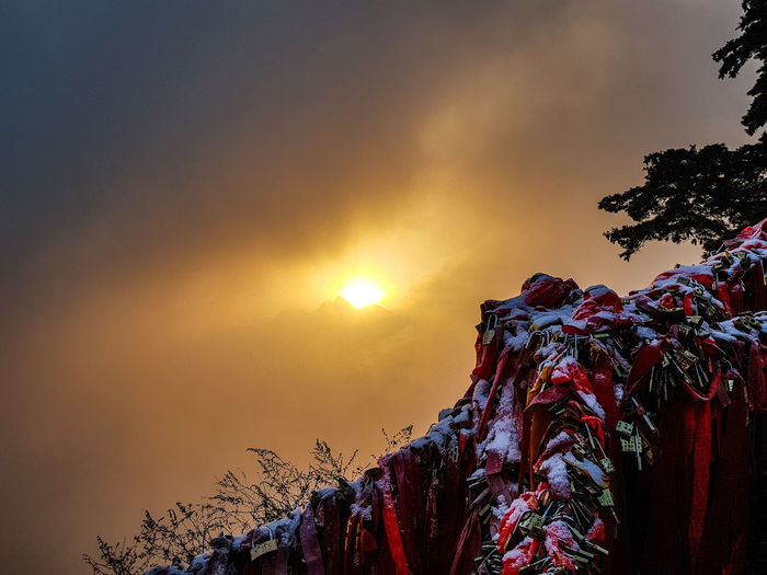 Winter Sunrise Huashan Mountain Mountain China Sunrise Outdoors No People Mountain Low Angle View Sky Tree Multi Colored
