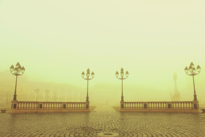 It was one of those very foggy mornings in Timisoara, Unirii Square Cityscape Empty Market Fog Foggy Morning No People Pavement Street Light