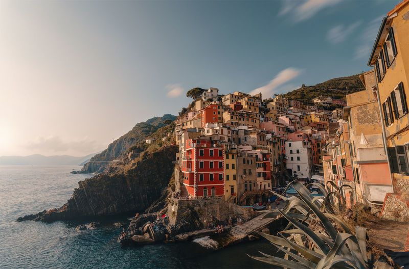 Sky Water Architecture Sea Built Structure Nature Building Exterior Building Cloud - Sky Beach Residential District Mountain No People City Land Day Outdoors Transportation Riomaggiore Liguria Italy Italia Nikon Wideangle D5100