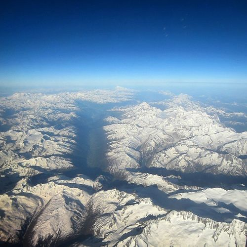 I remember my first flight in Europe. It was from Frankfurt, Germany to Milan, Italy, flying above the beautiful Alps without any clouds above it and on my birthday! Yes, it was beautiful. Viewfromabovecontest @natgeotravel Between Switzerland and Italy, I guess June 2014