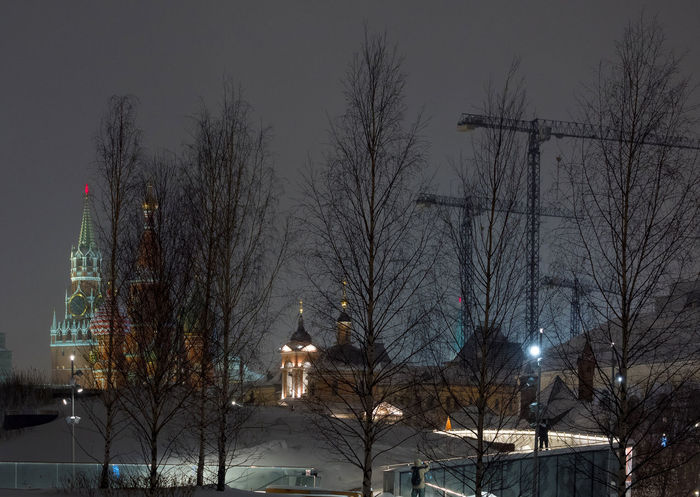 Russia, Moscow, the Kremlin, the Nikolskaya street, night, snow, Vasilevsky descent, the Kremlin's Spassky tower, St. Basil's Cathedral, Monument to Minin and Pozharsky on red square, Manezhnaya square, Ulitsa Varvarka, Zaryadye Park , winter, travel, architecture Moscow Night Lights Russia Vasilevsky Descent Architecture Bare Tree Branch Building Exterior Built Structure City Cold Temperature Illuminated Nature Night No People Outdoors Sky Snow Snowing The Kremlin Tree Winter