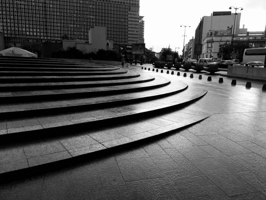 There is beauty in gloomy. Just like there is an obscure delight in sadness. The Purist (no Edit, No Filter) No People Black And White Stairs Rainy Day Urban Furniture Urban Geometry Urban Landscape Street Photography Dull But Beautiful Montparnasse Original Experiences The City Light