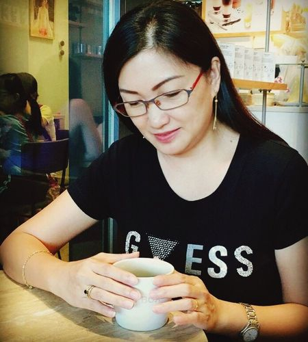 EyeEm Gallery Self Portrait Eyeem Singapore Black Coffee Front View One Person Women Real People Drink Young Adult Young Women Indoors  Lifestyles Adult Refreshment Food And Drink Casual Clothing Coffee - Drink Drinking Holding Portrait