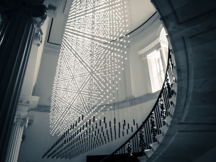 Architecture Built Structure Railing Low Angle View Indoors  Staircase Steps And Staircases Ceiling Steps No People Architectural Design Day Lightandshadow Shapes Mansion Fifth Ave, NYC Lighting Black And White Friday