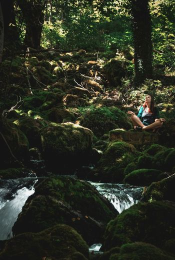 Tree One Person Full Length Relaxation Sitting Yoga Pose Outdoors Mountain Forest Mountain River Forest River Rocks Rocks And Water Green Moss Mossy Stones Travelling Montenegro Wild Beauty Montenegro Miles Away