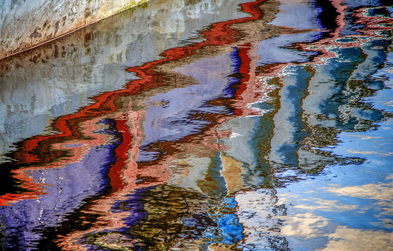 Colours Harbour Abstract Boat Colorful Docked Boat Fishing Boat Harbour Reflections, Kaleidoscope Reflection Water Weathered