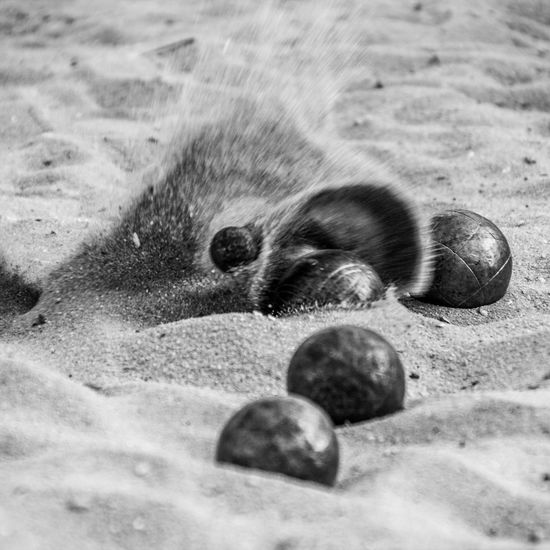 Action Ball Balls Blackandwhite Photography Boule Bullets Day Fun Globes Impact No People Outdoors Sand